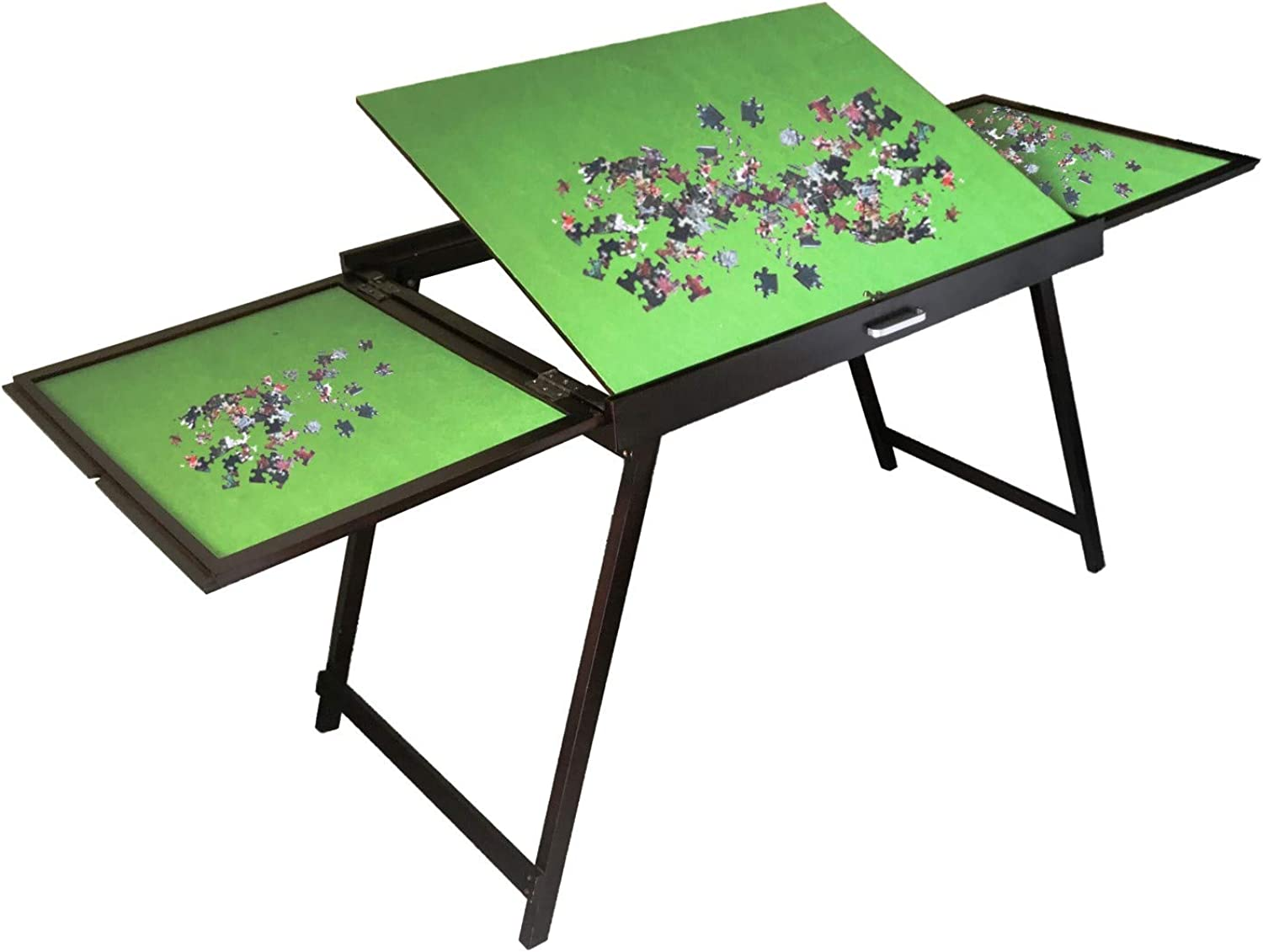 Wooden Fold-and-Go Jigsaw Table,Collapsible Jigsaw Puzzle Table and Storage System Fits 1500 pc Puzzles