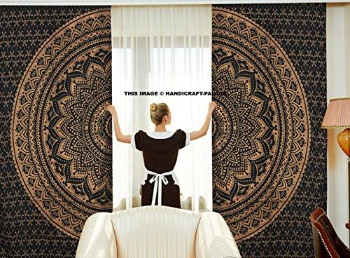 Oro nero etnico indiano tende ombre mandala Decor, motivo mandala meditazione design Psychedelic rotondo, finestre trattamenti, Living Kids Girls Room set 2pannelli, 208,3x 208,3cm