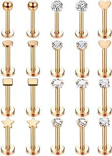 Udalyn 20 piercings de acero inoxidable para labio, para hombres y mujeres, piercing de cartílago, tragus, hélix, joyería ...