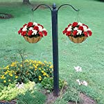 lopkey hanging basket with artificial flowers begonia wall coconut palm basket artificial hanging flower plant for outdoor patio lawn garden (red-white 12inch)