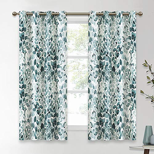 KGORGE Leaves Ink Painting Curtains Room Darkening / Thermal Insulated Grommet Drapes for Bedroom, 52 inches Wide x 63 inch Long Each, 2 Panels, Green-Blue