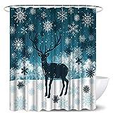 LoveHouse Duschvorhang mit Hirschmotiv, Weihnachtselch mit Schneeflocke, blau-weiß, wasserdicht, langlebig, Stoff, Badezimmer-Dekor-Set mit Haken, 183 x 183 cm