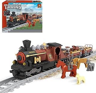 Technic Train Compatible with 531Pcs DIY City Cargo Train Set Building Blocks Set with Animal Minifigures