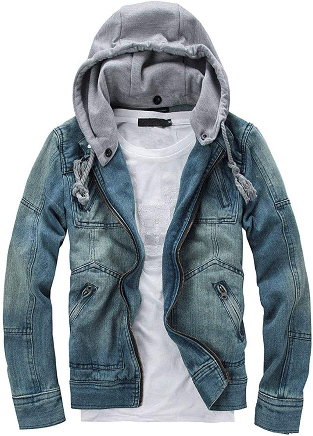 WaiiMak Big Men's Autumn Winter Denim Long Sleeve Detachable Hoodie Jacket Coat Top Blouse