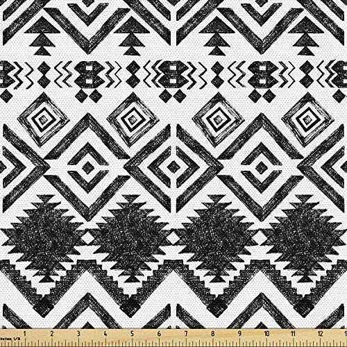 Lunarable Tribal Fabric by The Yard, Hand Drawn Style Tribal Pattern Geometric and Oranmental Aztec Design Print, Decorative Fabric for Upholstery and Home Accents, 1 Yard, Black White