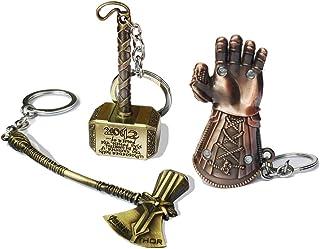 3pcs Superhero Key Chain Thor Stormbreaker Axe Keychain Thanos Glove Key Ring Iron Man Keychains Men's Superhero Accessories (Gold, One Size)