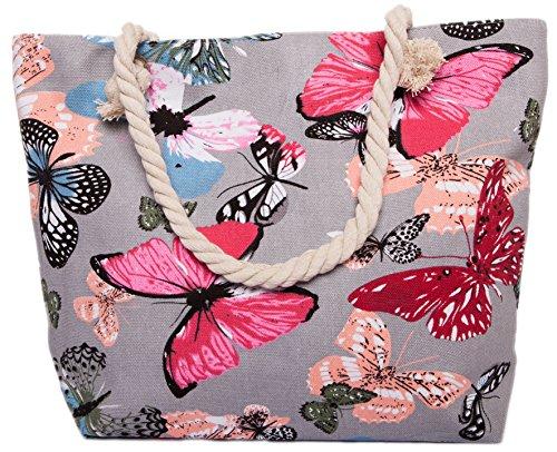 CAPRIUM Strandtasche mit Schmetterling Muster, Schultertasche, Shopper, Reißverschluss, Damen 0009000 (Grau)