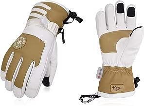 Vgo 2Pairs Touchscreen Goatskin Leather Winter Warm Skiing Gloves for Ladies', Waterproof Insert (Khaki, SF-GA2446FW)
