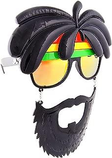 Sunstaches Rasta Sunglasses, Instant Costume, Party Favors, UV400