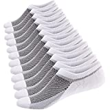 Ueither Calcetines Cortos Hombre Invisibles Respirable Calcetines tobilleros Algodón Antideslizantes (Tamaño: 38-44, 6 Pares Blanco)