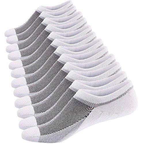 Ueither Calcetines Cortos Hombre Invisibles Respirable Calcetines tobilleros Algodón Antideslizantes (Tamaño: 44-48, 6 Pares Blanco)