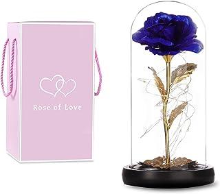 MRIMAYA Glass Rose, Forever Rose in Glass Dome, Blue Artificial Eternal Flower Light Up for Night Bedroom Decor, Gift for ...