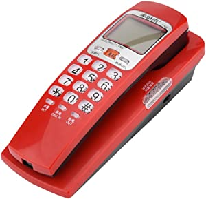 Sanpyl Corded Phone, Desktop Landline Fashion Extension Telephone Caller ID Wired Phone for Home,Hotel(Red)