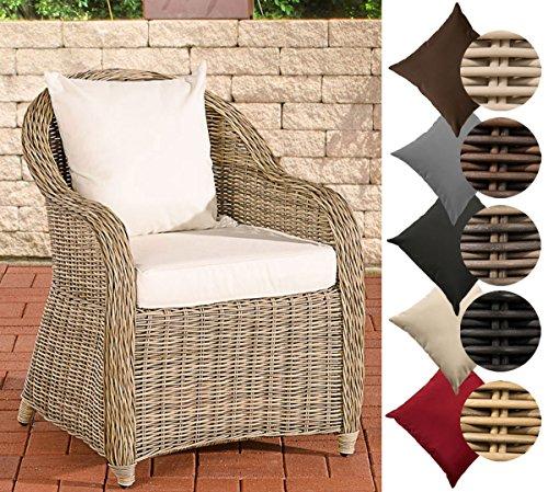 CLP Polyrattan-Sessel FARSUND inklusive Sitzkissen I Robuster Gartenstuhl mit einem Untergestell aus Aluminium I erhältlich Rattan Farbe Natura, Bezugfarbe: Cremeweiß