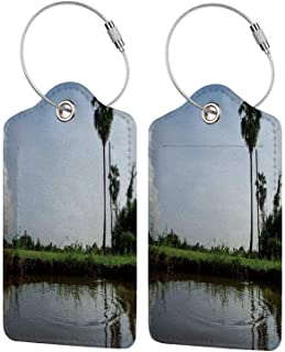 Colorful Unique DIY Printed Luggage Tags,Grassy Land Exotic Trees and Calm Pond Photo,for Bags Backpacks Suitcases and Golf Bags