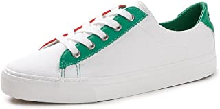 Women's Canvas Shoes Fashion Breathable Lace up Flat Shoes Students Low Top Sneakers (Color : Green, Size : 37)