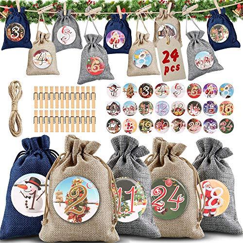 Sac Calendrier de l'avent, Sac en Tissu de Calendrier de l'avent de Noël, Calendrier de Noel, Calendrier de l'avent a remplir soi meme, Sacs Surprise Noël Sachets de Confiserie(24PCS 3Modèles)