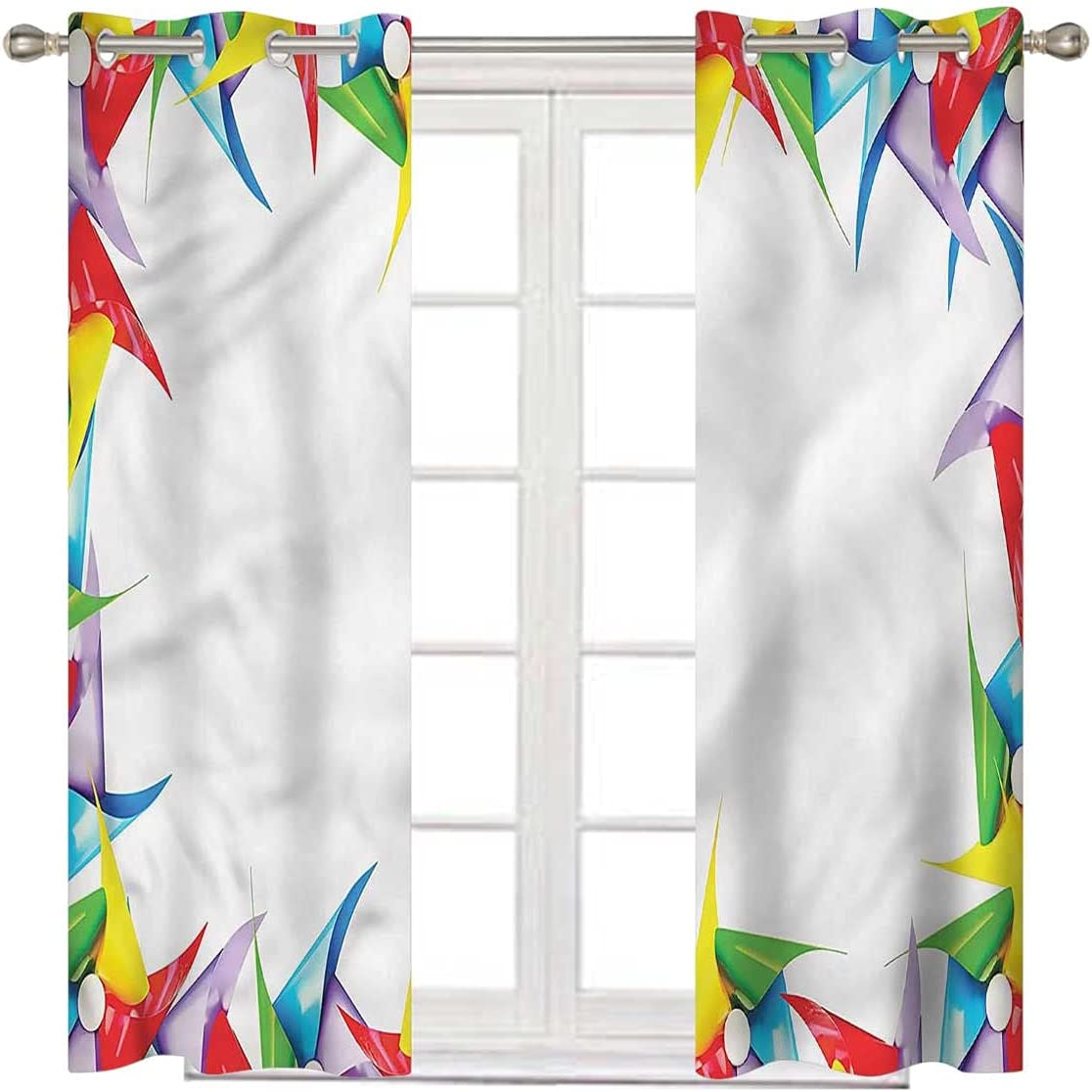 Pinwheel Blackout Curtain 72 Inch Long Choice Classic Colorful Square in Figure