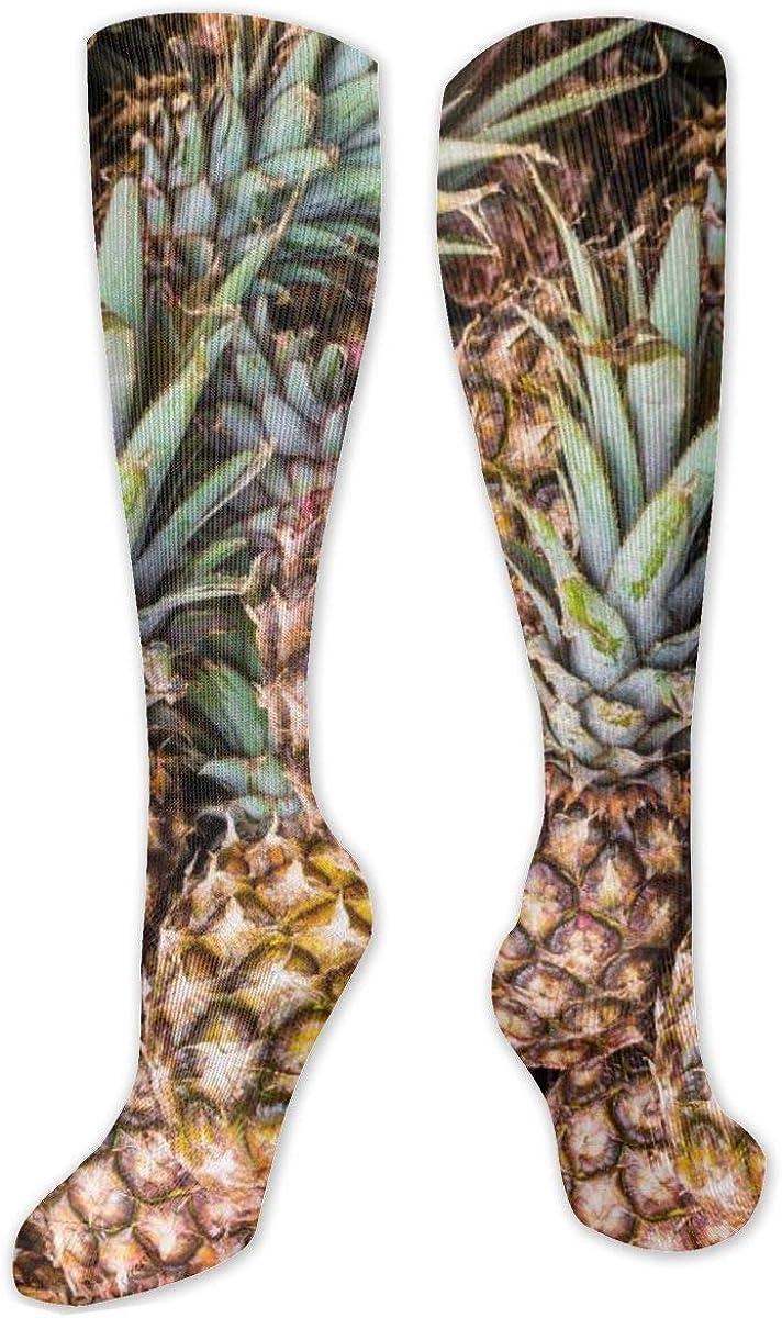 Yellow Pineapples Fruit Ripe Knee High Socks Leg Warmer Dresses Long Boot Stockings For Womens Cosplay Daily Wear