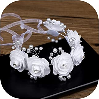 Wreath Headband Bridal Tiara White Diamonds Pearl Headband Wedding Hair Band Garland Dress Accessories Wedding Hair Accessories,As Show