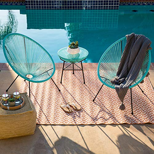 Best Choice Products 3-Piece Outdoor Acapulco All-Weather Patio Conversation Bistro Set w/Plastic Rope, Glass Top Table and 2 Chairs - Light Blue
