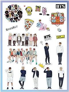 BTS Sticker Set Decal Jungkook V Jimin SUGA RM J-Hope Cute Stickers for Laptop Car Decoration Cellphone Stickers Cartoon Sticker (BTS3-2 Pic)