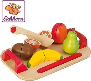 Eichhorn 100003721 - Schneidebrett mit Früchten, 26x16,5cm 12-tlg., Schneideobst aus Holz mit Klett-Verbindung, Eichenholz, Birkenholz