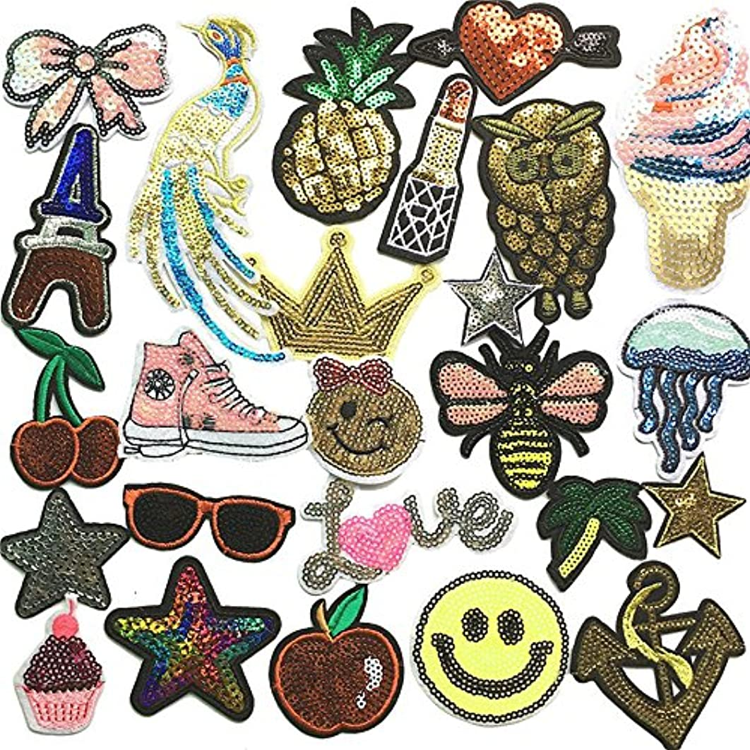 Libiline Embroidered Sequins Patch Sew On/Iron On Patch Applique Clothes Dress Plant Hat Jeans Sewing Flowers Applique DIY Accessory Owl Peacock Star Fruit Sweet Love Bee (Sequin Patch)