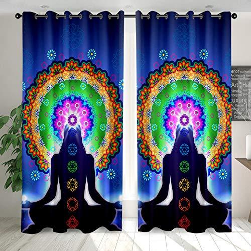 Cortinas Opacas Modernas, Sencillas Y Elegantes con Aislantes Térmicas Yoga Indio para Niños Y Ventanas De Salón Dormitorio Decoración 110 cm x 215 cm x 2