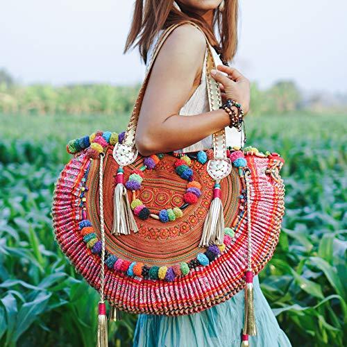 Changnoi Vintage Half Moon Beach Bag for Women with Hmong Embroidered, One of a Kind Pom Pom Hmong Bag, Boho Tote Bag, Bohemian Bag