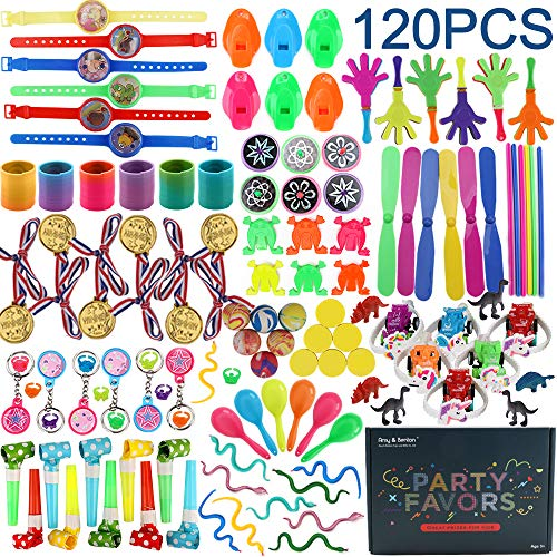 Amy & Benton 120 Kids Prizes Party Favors for Kids Party, Birthday Party Toy Assortment, Teachers and Parents Rewards, Carnival Prizes, Pinata Fillers, Goodie Bag Stuffers