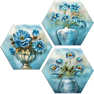 ARTAMORI Blue Flower art 3 Piece Hexagon MDF Painting