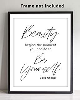 "Coco Chanel Inspirational ""Beauty Begins"" Typography Word Wall Art - 11x14 UNFRAMED Print - Makes a Great Gift for Lovers of Minimalist, Fashion, Motivational Decor."