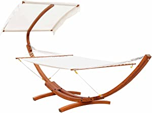 Outsunny 13FT Freestanding Hammock with Canopy Shelter Ourtdoor Hammock Bed with Wood Arc Stand for Patio Balcony Garden Backyard, White