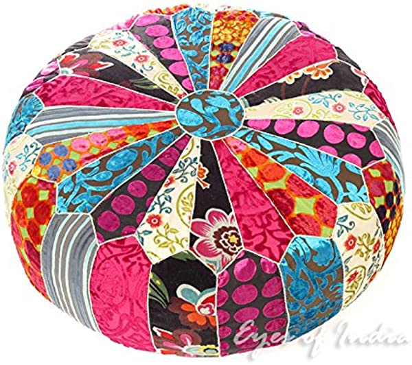 Eyes Of India 20 X 8 Small Round Colorful Velvet Ottoman Pouf Pouffe Cover Floor Seating Boho Bohemian Indian