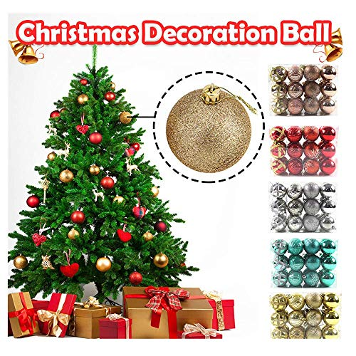 GuangYuan 24ct Christmas Ball Ornaments Christmas Decorations Tree Balls Small for Holiday Wedding Party Decoration (Red)