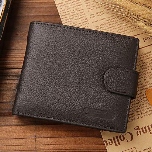 Leather wallet men clip wallet men coin purse small clutch men wallet coin purse men short wallet-Brown