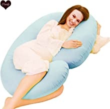 COOZLY Cotton Pregnancy Pillow with Covers (Wgt-3.5 Kg, 229 X 115 X 22 cm,Light Blue)