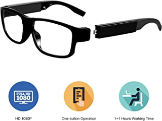Hidden Camera Glasses - Spy Camera Eyeglasses FHD 1080p Mini Wearable Glasses Camera with Two Replaceable Batteries - 2 Hours Video Taking(16GB Memory) for Business Conference and Security