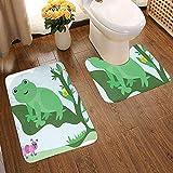 Gooeyokoi 2PCS Alfombras de baño Alfombrilla de baño, Escena Infantil Animal Lindo en Hoja Grande Oruga y Abeja Alfombrilla de baño de Dibujos Animados