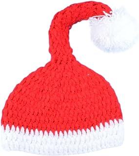 Ocamo, Ocamo Unisex bebé recién Nacido de Punto de Navidad Lindo Conjunto, Traje de Papá Noel, Gorro de Punto a Mano + Calcetines + Pantalones Conjunto de niños Gorro Navideño