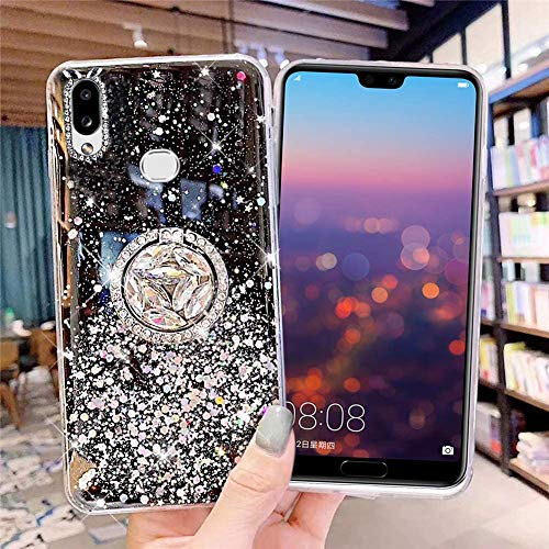 Glitter Case Compatible with Galaxy A10S, Bling Diamond Transparent Soft Silicone TPU Gel Rubber Phone Case with Ring Stand Holder Crystal Clear Bumper Protective Cover for Galaxy A10S,Black