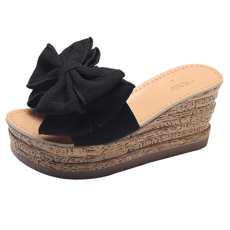 [Top Homie] レディース 室内 厚底 スリッパ ミュール 8cm かわいい 蝶結び リボン 女性 自宅用 すべり止め ルームシューズ 美脚 靴