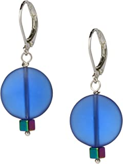 Ocean Blue Sea Glass Earrings, Handmade Jewelry- Swarovski Rainbow Blue Crystal