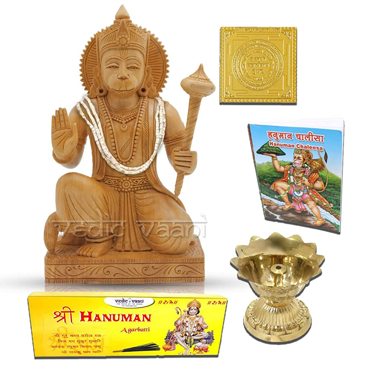 作詞家最大軽Lord Hanuman木製Statue withヤントラ、Chalisa、Diya and Incense Sticks Vedic Vaani
