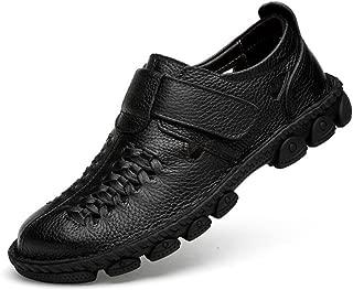 ailishabroy Mocassins Chauds dhiver Chaussures Hommes en Cuir Noir Glisser sur Chaussures de Ville /à Lacets