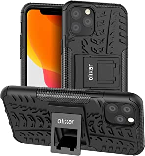 Olixar for iPhone 11 Pro Max Protective Case - Tough Armour - Heavy Duty Cover - ArmourDillo - Built in Stand - Wireless Charging Compatible - Black
