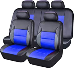 CAR PASS 11 Pieces Leather Universal Car Seat Covers Set - Black and Blue