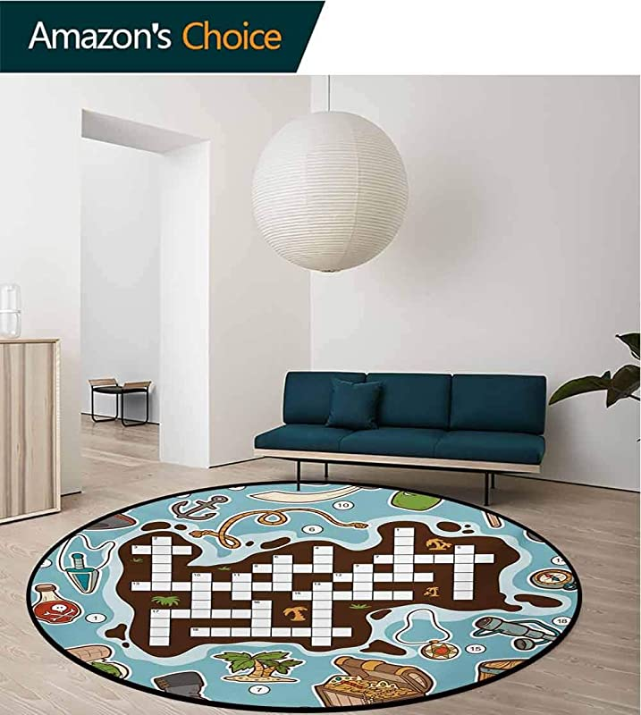 RUGSMAT Non Slip Area Rug Pad Round Illustration Of Blooming Tree Branches Abstract Clouds And Birds On Teal Backdrop Protect Floors While Securing Rug Making Vacuuming Diameter 39 Inch Multicolor