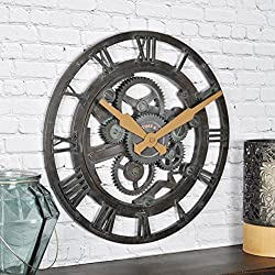 FirsTime & Co. Oxidized Gears Wall Clock, 15, Metallic Teal
